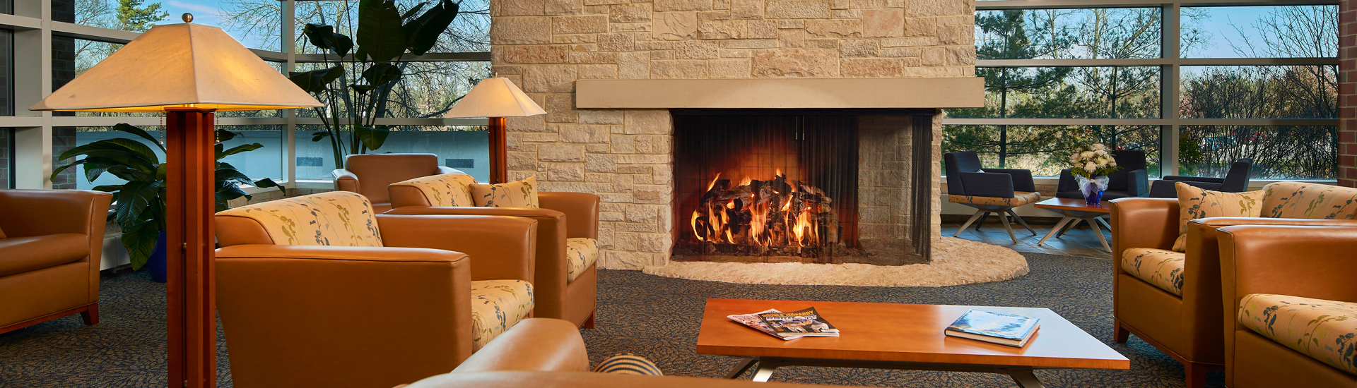 The Penn Stater lobby fireplace