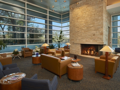 Fireplace in Hotel Lobby